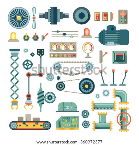 Parts of machinery and robot flat icons set.  Mechanical equipment for industry, technical engine mechanic, pipe and valve, absorber and  button, vector illustration - stock vector