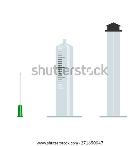 Parts of syringe vector illustration - stock vector