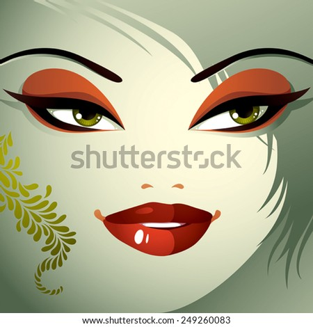 Parts of the face of a young beautiful lady with a bright make-up, lips, eyes and eyebrows. People facial expression, woman with modern hairstyle. - stock vector