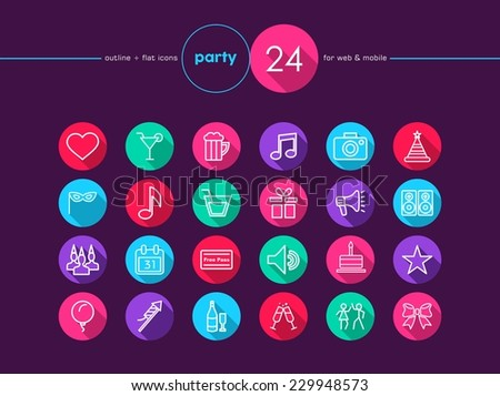 Party and birthday colorful flat icons set for web and mobile app. EPS10 vector file organized in layers for easy editing. - stock vector