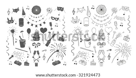Party and celebration design elements. Doodle set. Isolated - stock vector