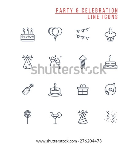 Party and Celebration Outline Icons - stock vector