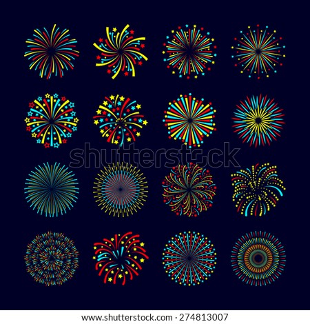 Party and holiday event firework icon flat set isolated vector illustration - stock vector