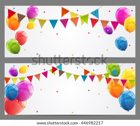 Party Background Baner with Flags and Balloons Vector Illustration. EPS10 - stock vector
