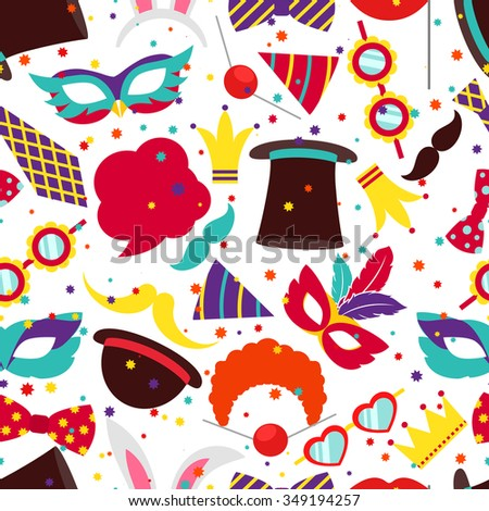 Party background or carnival pattern. Mask and cylinder, bunny ears, vector illustration - stock vector