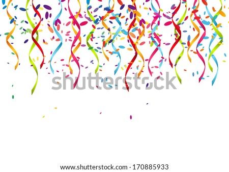 Party background with color ribbons - stock vector