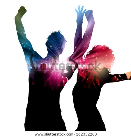 Party background with decorative people design - stock vector