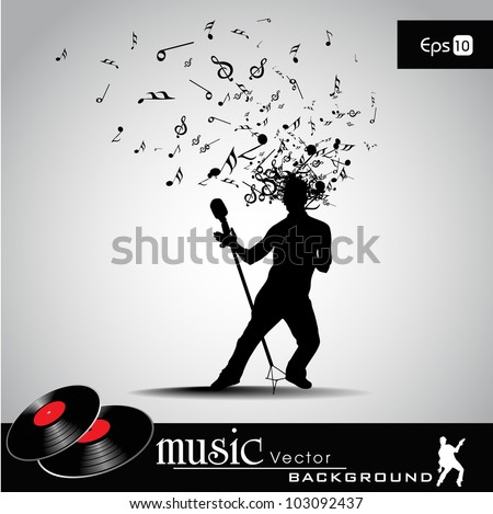 Party banner, flyer or poster with  a guy silhouette and microphone  on musical notes  background. EPS 10. can be use as banner, tag, icon, sticker, flyer or poster. - stock vector