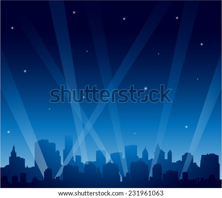 Party city at night background - stock vector