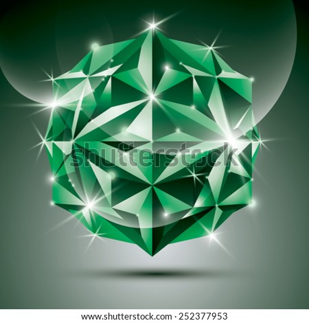 Party 3D green shiny disco ball. Vector fractal dazzling abstract illustration - eps10 jewel. Gala theme. Fantastic object. - stock vector