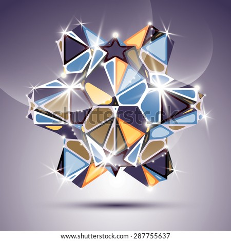 Party 3D twinkle kaleidoscope object. Vector festive geometric illustration - eps10 shiny facet gemstone.  - stock vector
