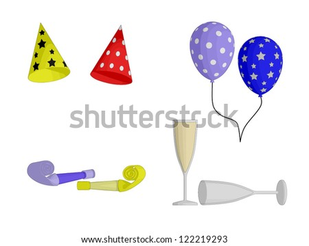 Party Favors - hats, balloons, horns and Champagne glasses - stock vector