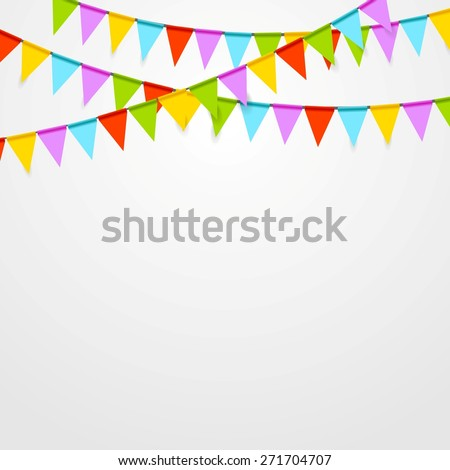 Party flags celebrate bright abstract background. Vector art design - stock vector