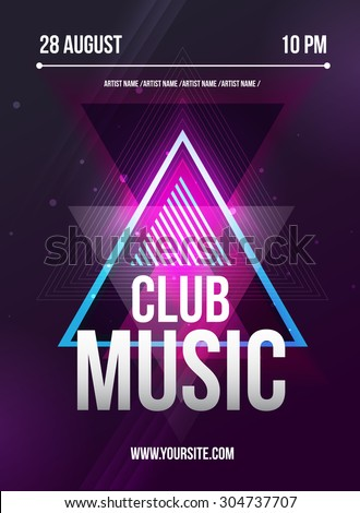 Party Flyer. Club music flyer. DJ lineup design. Vector template. - stock vector