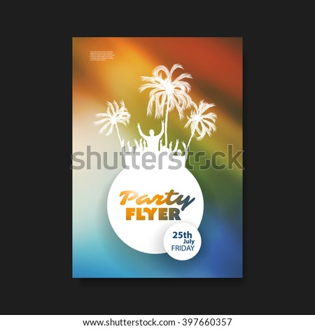 Party Flyer or Cover Design With Dancing Guys, Palms And Colorful Background - stock vector