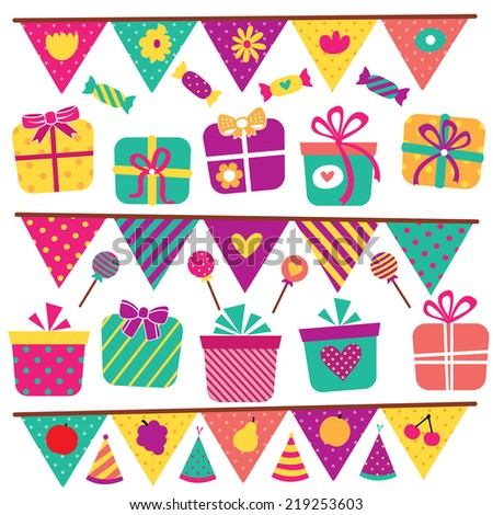 party gifts and elements clip art set - stock vector