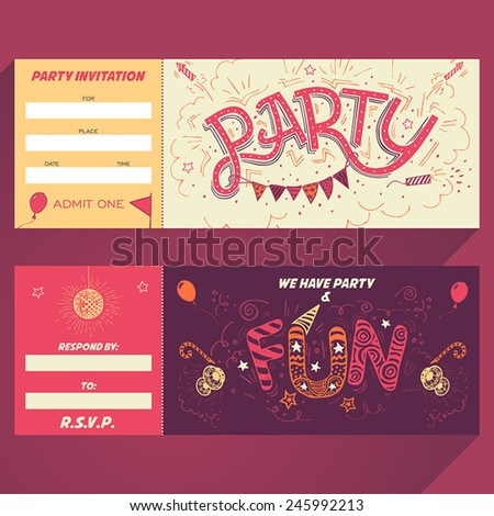 Party hand-lettering invitation ticket with hand-drawn party elements - stock vector