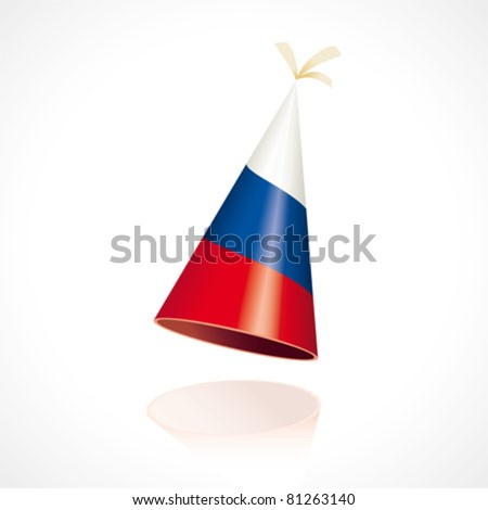 Party hat with the flag from Russia - stock vector