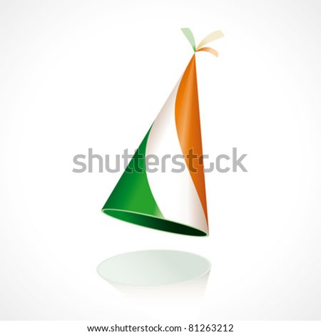 Party hat with the flag of Ireland - stock vector