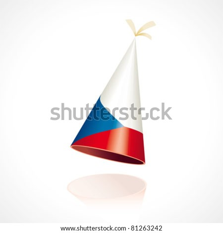 Party hat with the flag of the Czech Republic - stock vector