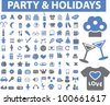 party & holidays icons set, vector - stock vector