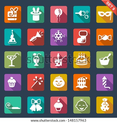 Party icon set - flat design - stock vector