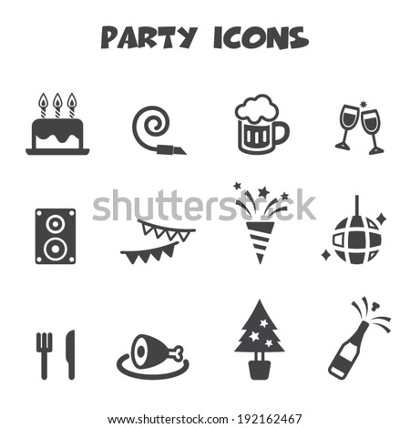 party icons, mono vector symbols - stock vector