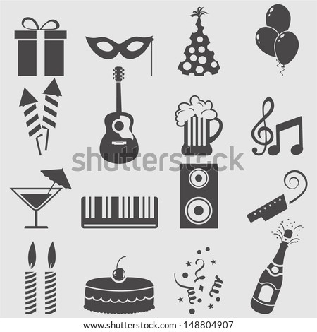 Party icons set.Vector  - stock vector