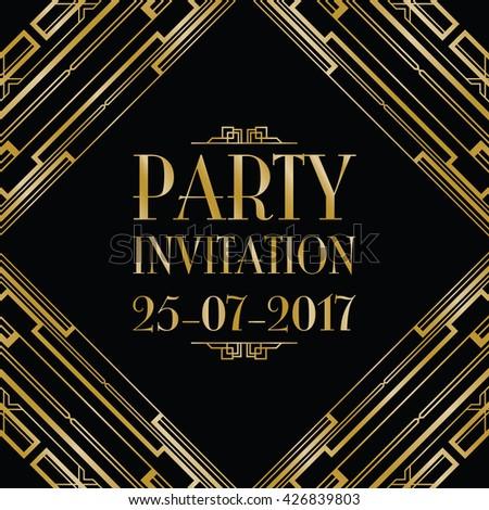 party invitation art deco background - stock vector