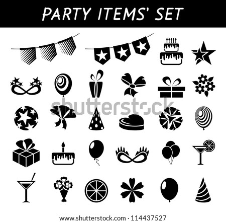 Party items - stock vector