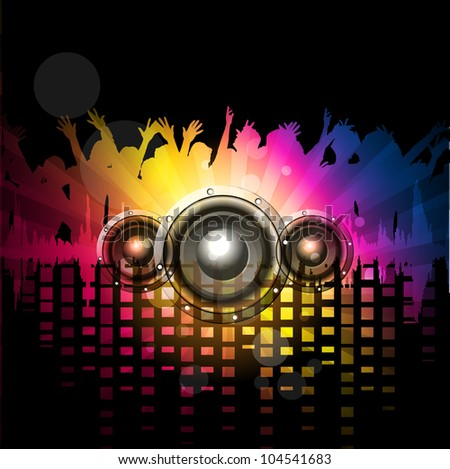 Party night background with dancing people silthoette and speakers, can be use as flyer, banner or poster for discotheque, party and other events. EPS 10. Vector illustration. - stock vector