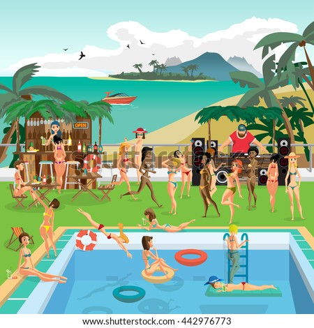 Party outdoor swimming pool on the beach in the tropics. Vector cartoon flat illustration.  - stock vector