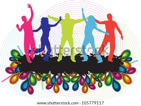Party People Background - Dancing Young People - stock vector