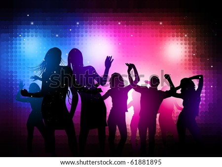 Party People Background - Vector dancing young people. - stock vector