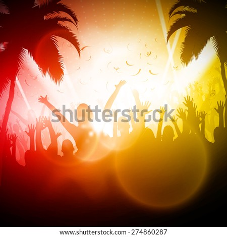 Party People | Beach Party Vector Background | EPS10 Editable Design - stock vector