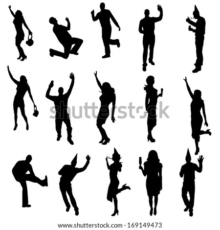 party people black silhouette on white background - stock vector