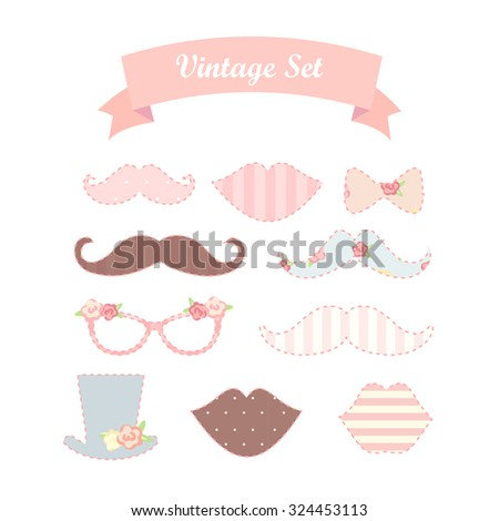 Party Photo Props. Includes Lips , Glasses, mustaches - stock vector