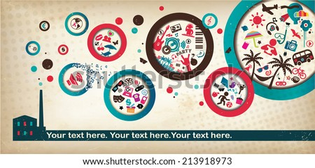Party Poster Template - suitable for posters, flyers, brochures, banners, badges, wallpapers, web design, advertising, publicity and more - stock vector