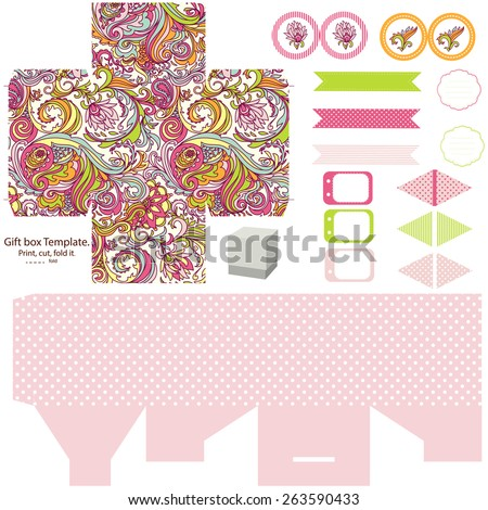 Party set. Gift box template.  Abstract floral pattern. Empty labels and cupcake toppers and food tags.  - stock vector