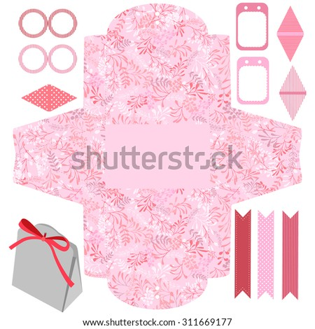 Party set. Gift box template.  Abstract nature pattern with harbs. Empty labels and cupcake toppers and food tags.  - stock vector