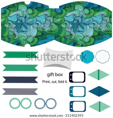 Party set. Gift box template.  Abstract swirl waves pattern. Empty labels and cupcake toppers and food tags.  - stock vector