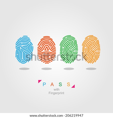 Pass with fingerprint.  color vector illustration. - stock vector