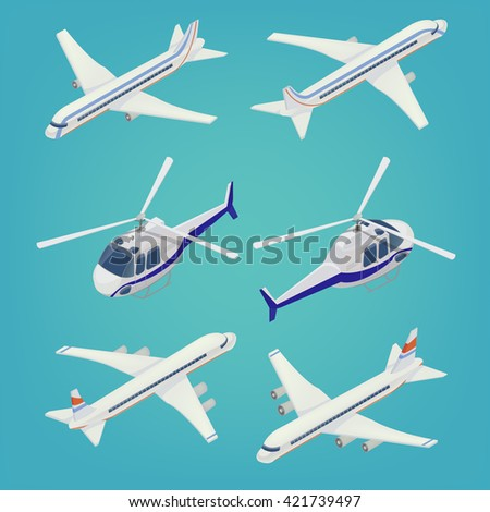 Passenger Airplane. Passenger Helicopter. Isometric Transportation. Aircraft Vehicle. Isometric Plane. Air Transportation. Vector illustration - stock vector
