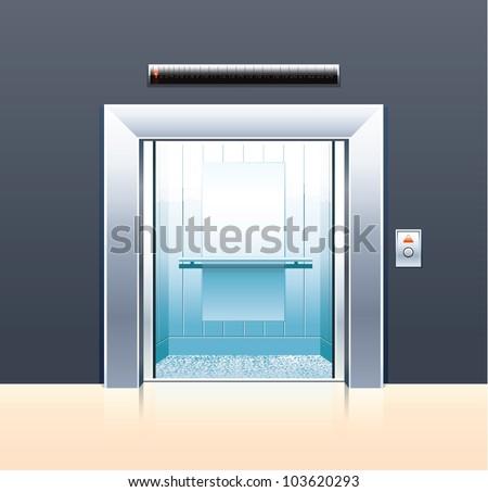 Passenger elevator with opened doors. - stock vector