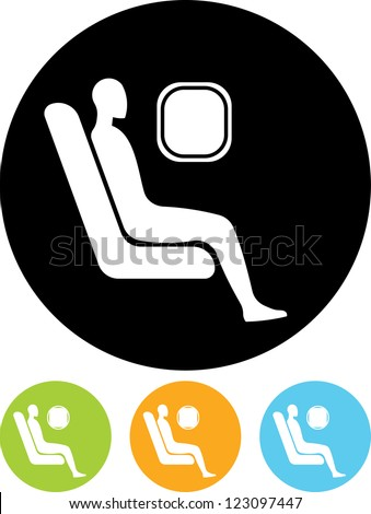 Passenger. Man at airplane - Vector icon isolated - stock vector