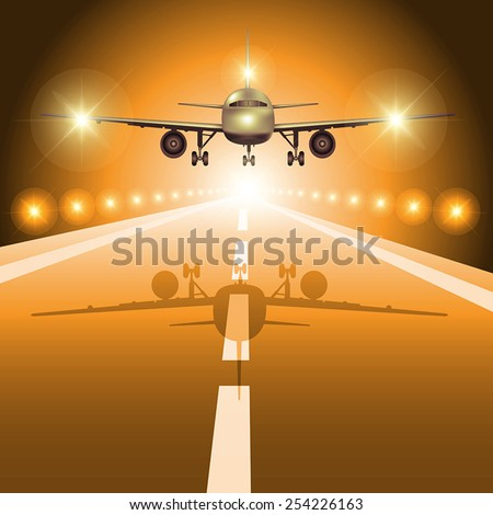 Passenger plane fly up over take-off runway from airport at night. Vector illustration - stock vector