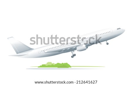 Passenger plane takes off from a runway, isolated - stock vector
