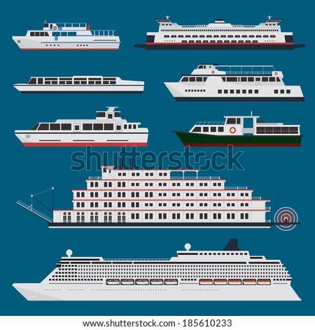 Passenger ships infographic - stock vector