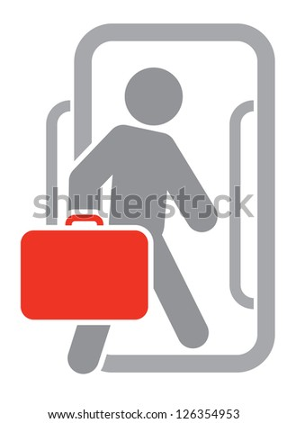 Passenger with luggage moving forward - stock vector