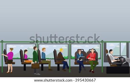 Passengers in public transport concept vector banner. People in bus. Transport interior. - stock vector